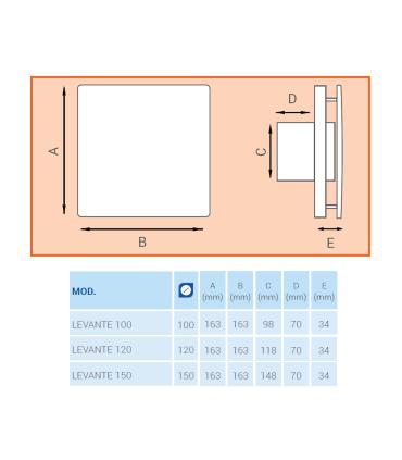 Ventilator axial de fereastra / perete / tavan LUX Levante 150, fabricat in Italia, timer, debit 160 mc/h