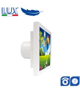 Ventilator axial LUX GRECALE 120, fabricat in Italia, clapet anti-retur, timer, debit 140 mc/h