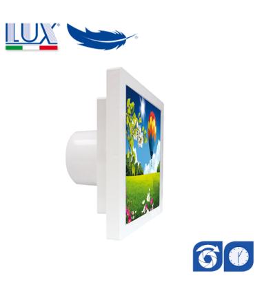 Ventilator axial LUX Grecale 120, fabricat in Italia, clapet anti-retur, timer, debit 140 mc/h, diametru 120 mm
