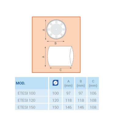 Ventilator axial LUX Etesi 100, fabricat in Italia, senzor umiditate, debit 120 mc/h