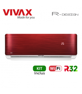 Aer Conditionat VIVAX R-Design ACP-09CH25AERI RED Wi-Fi Kit de instalare inclus R32 Inverter 9000 BTU/h