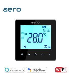 Termostat Ventiloconvector AERO TP528FC2W Black, Wi-Fi, 2 tevi, pentru Incalzire / Racire / Ventilatie, negru