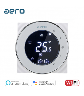 Termostat Ventiloconvector AERO THP6000ALW White, Wi-Fi, 2 tevi, pentru Incalzire / Racire / Ventilatie, alb