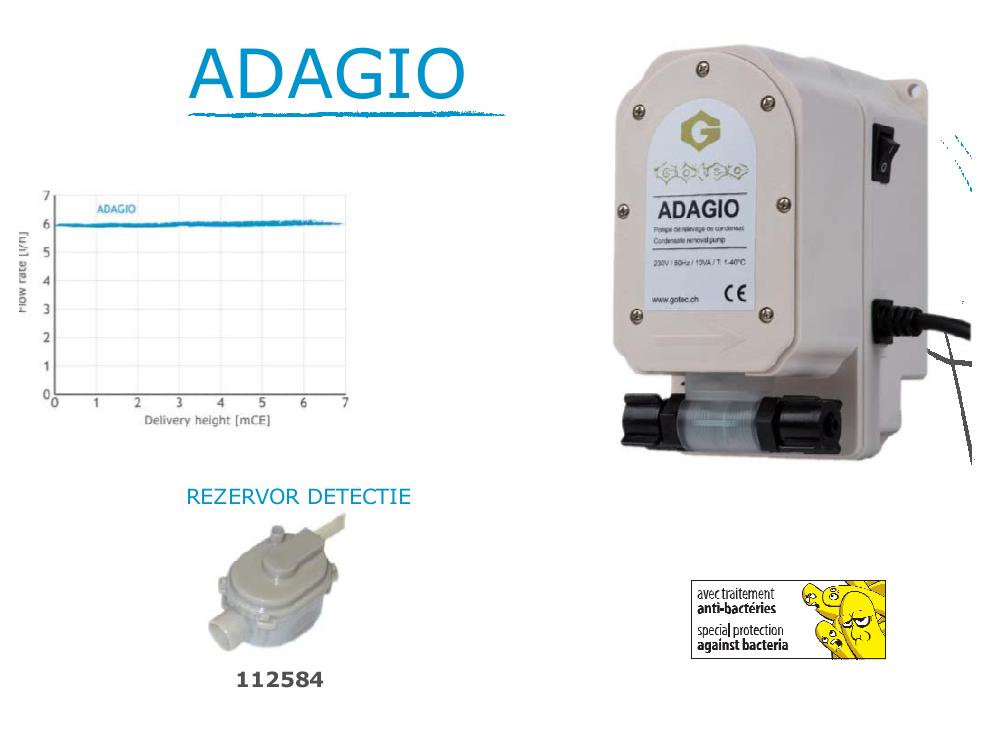 Pompa de condens Perisaltica Gotec ADAGIO - Rezervor detectie